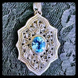Vintage Large Art Deco Blue Topaz Sterling Pendant